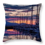 Shilshole Olympic Mountains Sunset Throw Pillow