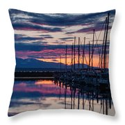Shilshole Olympic Mountains Sunset Vertical Throw Pillow