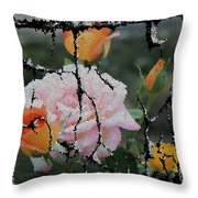 Shinning Roses Photo Manipulation Throw Pillow
