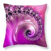 Shiny Pink Fractal Spiral Throw Pillow