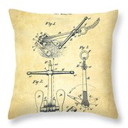 Ship Anchor Patent From 1892 - Vintage Throw Pillow