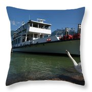 Ship And Swan Throw Pillow
