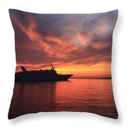 Ship At Mykonos Bay Mykonos Cyclades Greece  Throw Pillow