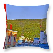 Ship At The End Of Water Street In Saint John's-nl Throw Pillow