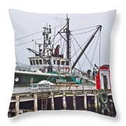 Ship Docked In Lunenburg-ns Throw Pillow