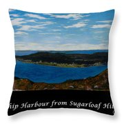 Ship Harbour From Sugarloaf Hill - Historic Town - Atlantic Charter Throw Pillow