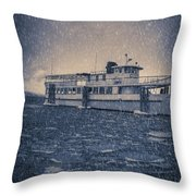 Ship In A Snowstorm Throw Pillow