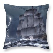 Ship In A Storm Throw Pillow