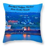 Ship In Beautiful Halifax Harbour Throw Pillow