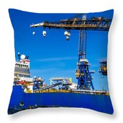 Ship In Port Throw Pillow