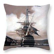 Ship In Sepia Throw Pillow