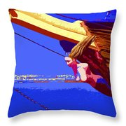 Ship In The Waters Of Crete Throw Pillow