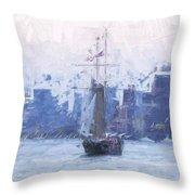Ship Through The Haze Throw Pillow