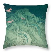 Fish And Motorbikes Throw Pillow