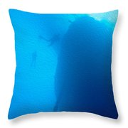 Ship Wreck With Divers Throw Pillow