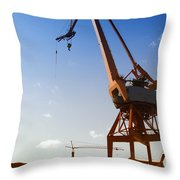Shipping Industry Dock Throw Pillow