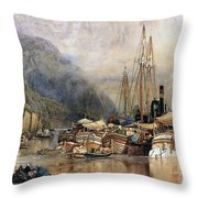 Shipping On The Hudson River Throw Pillow by Samuel Colman