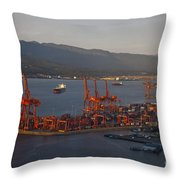 Shipping Terminals Port Of Vancouver Throw Pillow