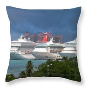 Ships And Atlantis Throw Pillow