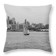 Ships And Boats In Black And White Throw Pillow