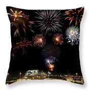 Ships And Fireworks Throw Pillow