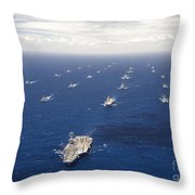 Ships And Submarines Participating Throw Pillow