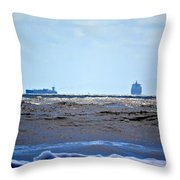 Ships At Sea Throw Pillow