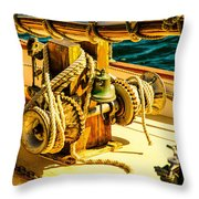 Ships Bell Sailboat Throw Pillow
