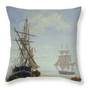Ships In A Dutch Estuary Throw Pillow