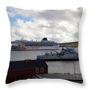 Ships In Lerwick Harbour Throw Pillow