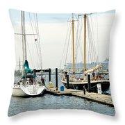 Ships In Newport Harbor Throw Pillow