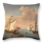 Ships In The Thames Estuary Near Sheerness Throw Pillow