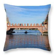 Ships On Waves Bridge Throw Pillow