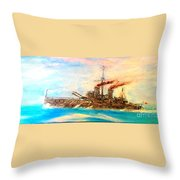 Ship's Portrait - Hms Dreadnought 1908 Throw Pillow by Marco Macelli