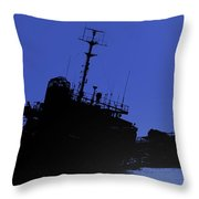 Shipwreck Of A Beached Diesel Tanker At Night Throw Pillow