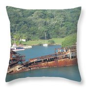Shipwreck Of Roatan Honduras Throw Pillow