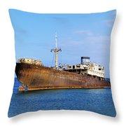 Shipwreck On Lanzarote Throw Pillow