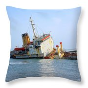 Shipwrecked Diesel Tanker Throw Pillow