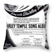 Shirley Temple Song Album Throw Pillow