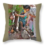 Morning Offerings At A Shiva Temple - India Throw Pillow