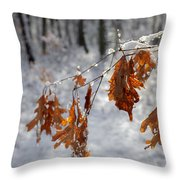 Shivering Oak Leaves Throw Pillow