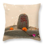 Shivling From Sand Throw Pillow