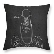 Shoe Eyelet Patent From 1905 - Charcoal Throw Pillow