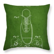 Shoe Eyelet Patent From 1905 - Green Throw Pillow