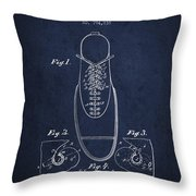 Shoe Eyelet Patent From 1905 - Navy Blue Throw Pillow