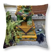 Shoes Outside The Temple Throw Pillow