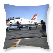 Shooter Signals To The Pilot Of A T-45c Throw Pillow
