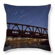 Shooting Star Over Bridge Throw Pillow