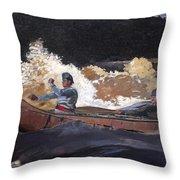 Shooting The Rapids Saguenay River Throw Pillow