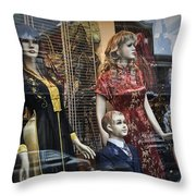 Shop Window Display Of Mannequins Throw Pillow